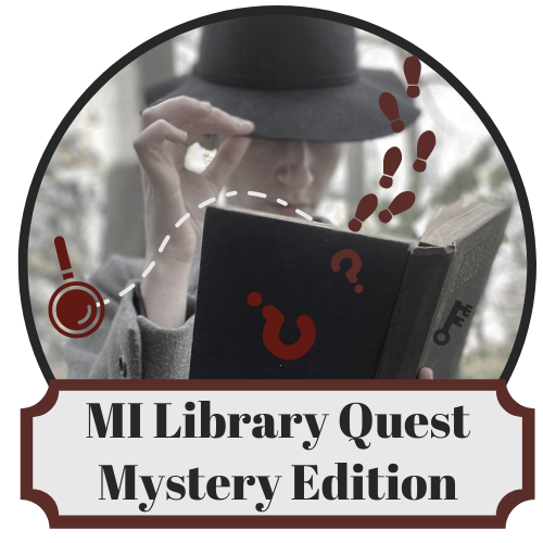 "link ""MiLibraryQuest logo with mysterious figure holding an open book with footprints and question marks falling out."" img ""MiLibraryQuest logo with mysterious figure holding an open book"